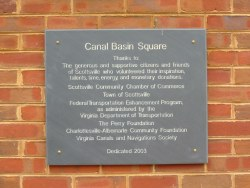Slate dedication plaque for Canal Basin Square